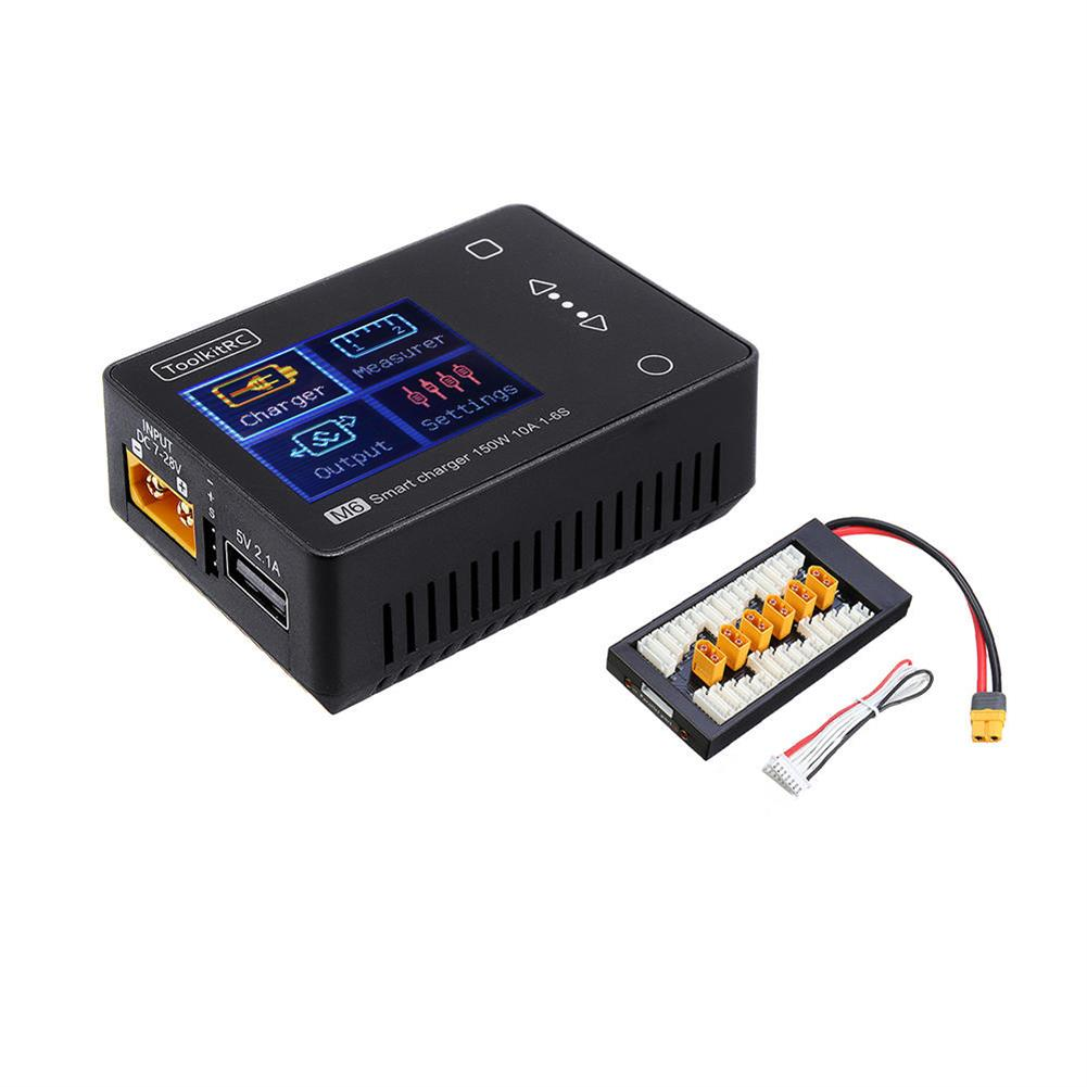 battery-charger ToolkitRC M6 MINI 150W 10A Smart Battery Charger Black with XT60 Charger Board for 2-6S Lipo Battery HOB1555765