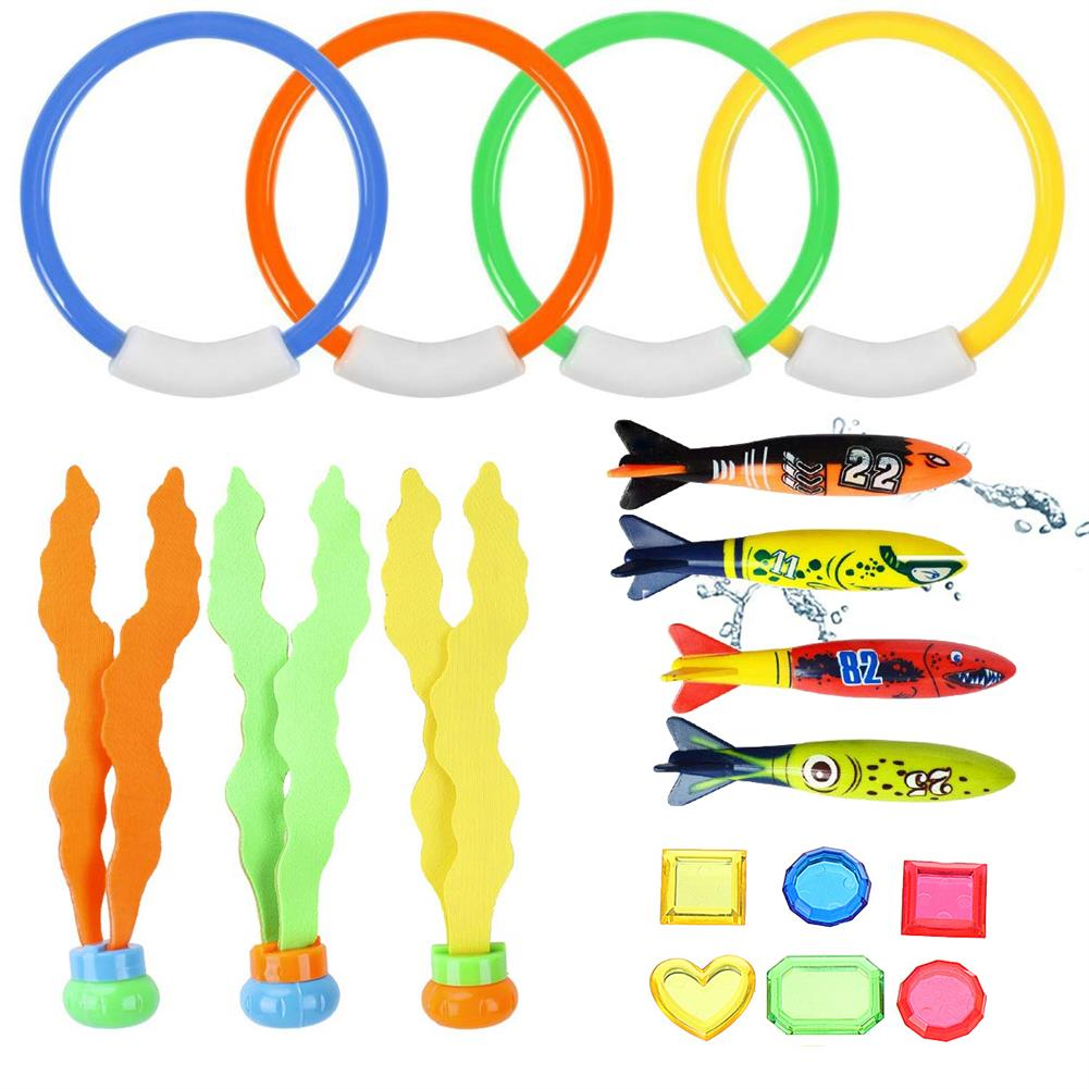 puzzle-game-toys 17Pcs Underwater Swimming Diving Pool Toys Kids Fun Dive Training Toy HOB1557531
