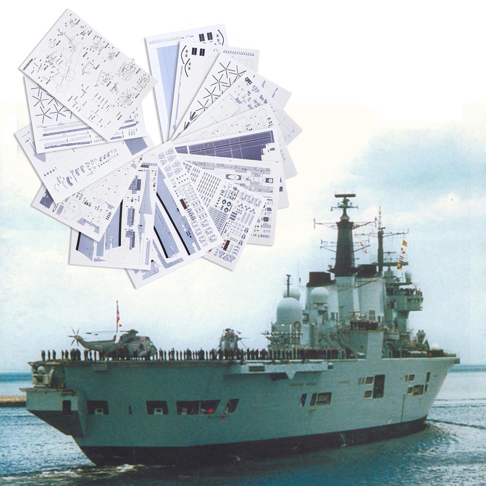 blocks-track-toys 1:400 3D Paper Model DIY England invincible Class Aircraft Carrier Ship Boat Kit Sailing Boats Model HOB1560804