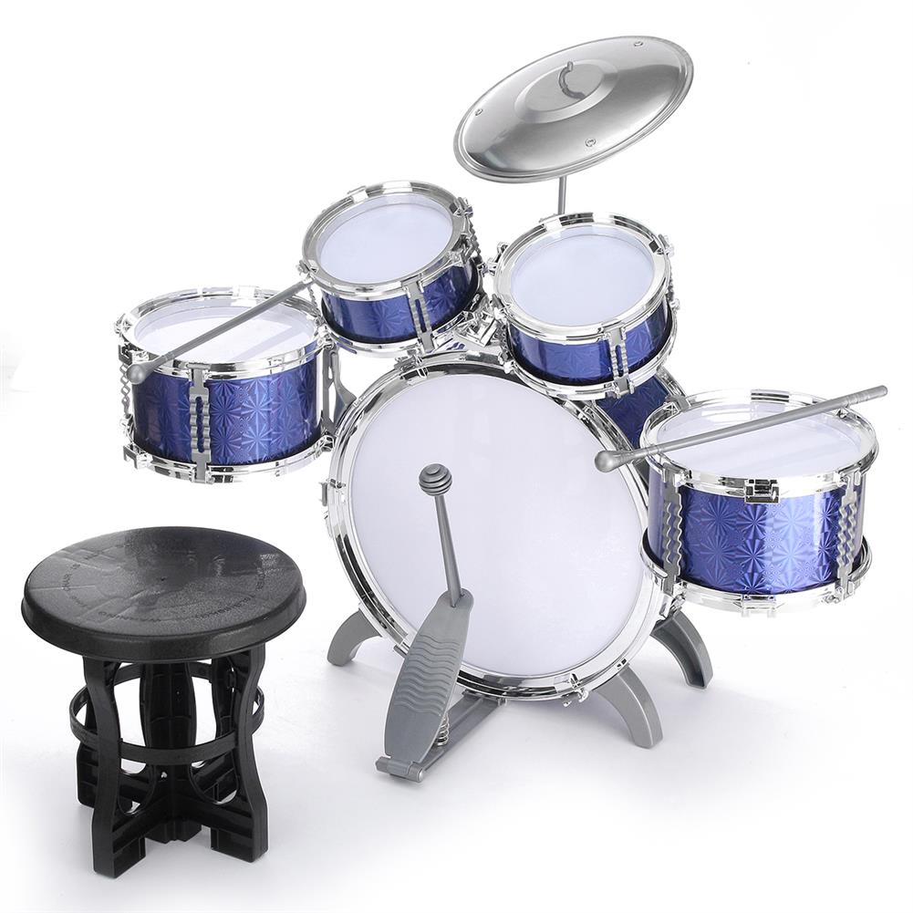 drum-sets Kids Jazz Drum Set Kit Musical Educational instrument 5 Drums 1Cymbal with Stool Drum Sticks Percussion instrument HOB1570948