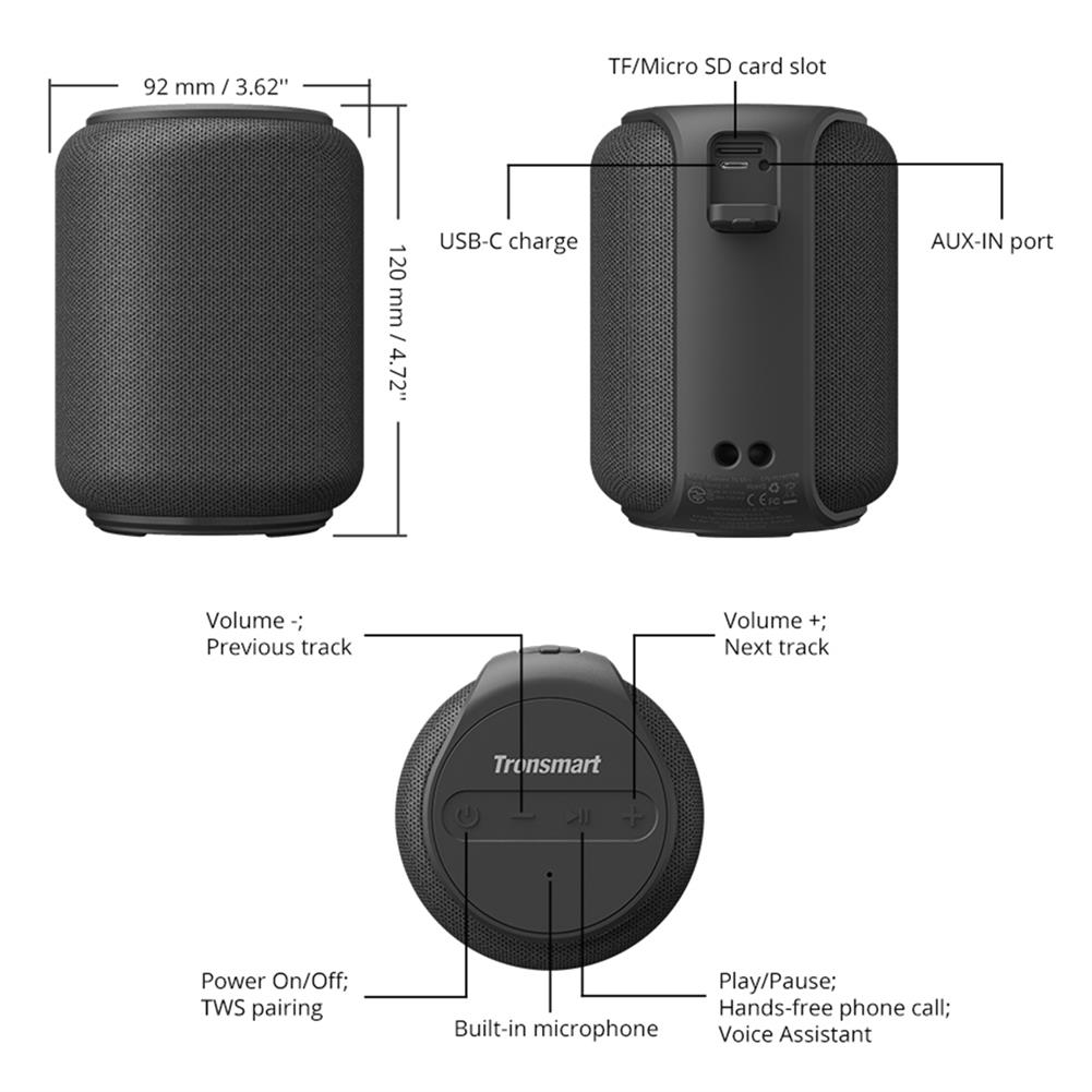 speakers-subwoofers Tronsmart Element T6 Amplifier 2500 mAh 15W IPX6 Waterproof Portable Mini Bluetooth Speaker HOB1587091 1