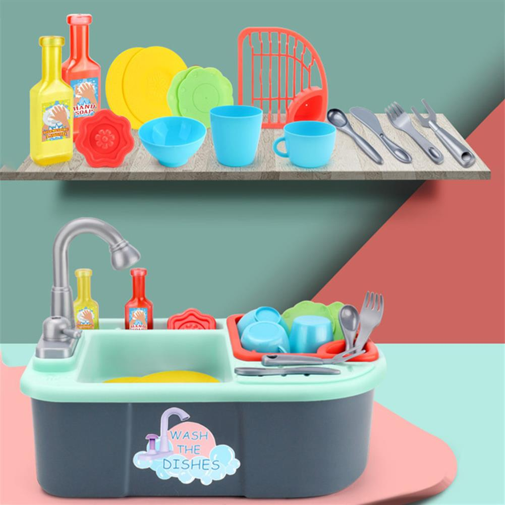 puzzle-game-toys Kids Girls Kitchen Sink Pretend Play Toys Set Real Working Faucet & Washing Tools HOB1594313