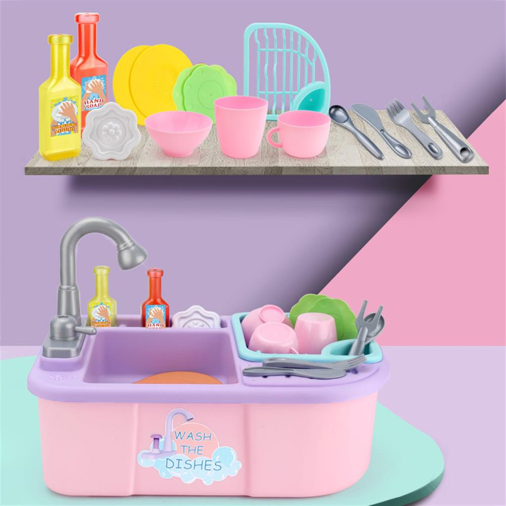 puzzle-game-toys Kids Girls Kitchen Sink Pretend Play Toys Set Real Working Faucet & Washing Tools HOB1594313 1