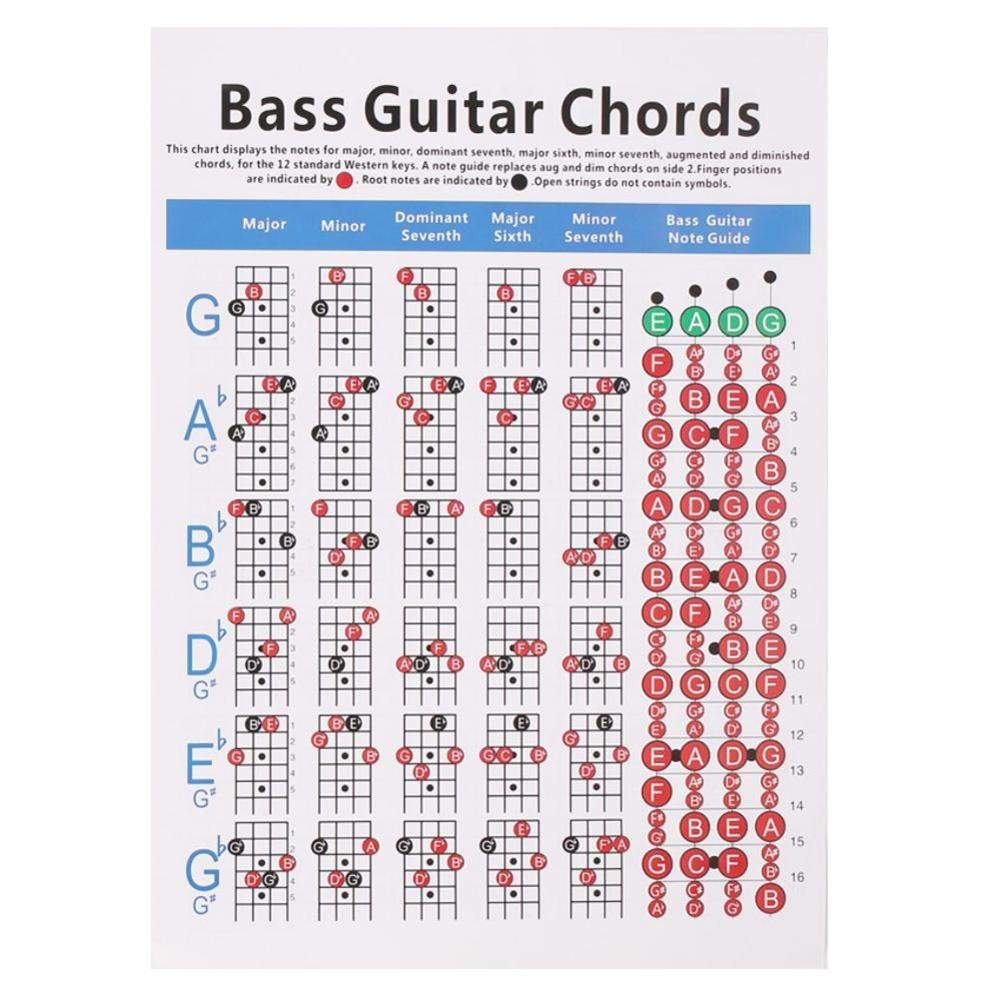 guitar-accessories DEBBIE Hord-1.2 4-String Electric Bass String Spectrum Guitar Chord Chart for Fingering Practice HOB1598981 1