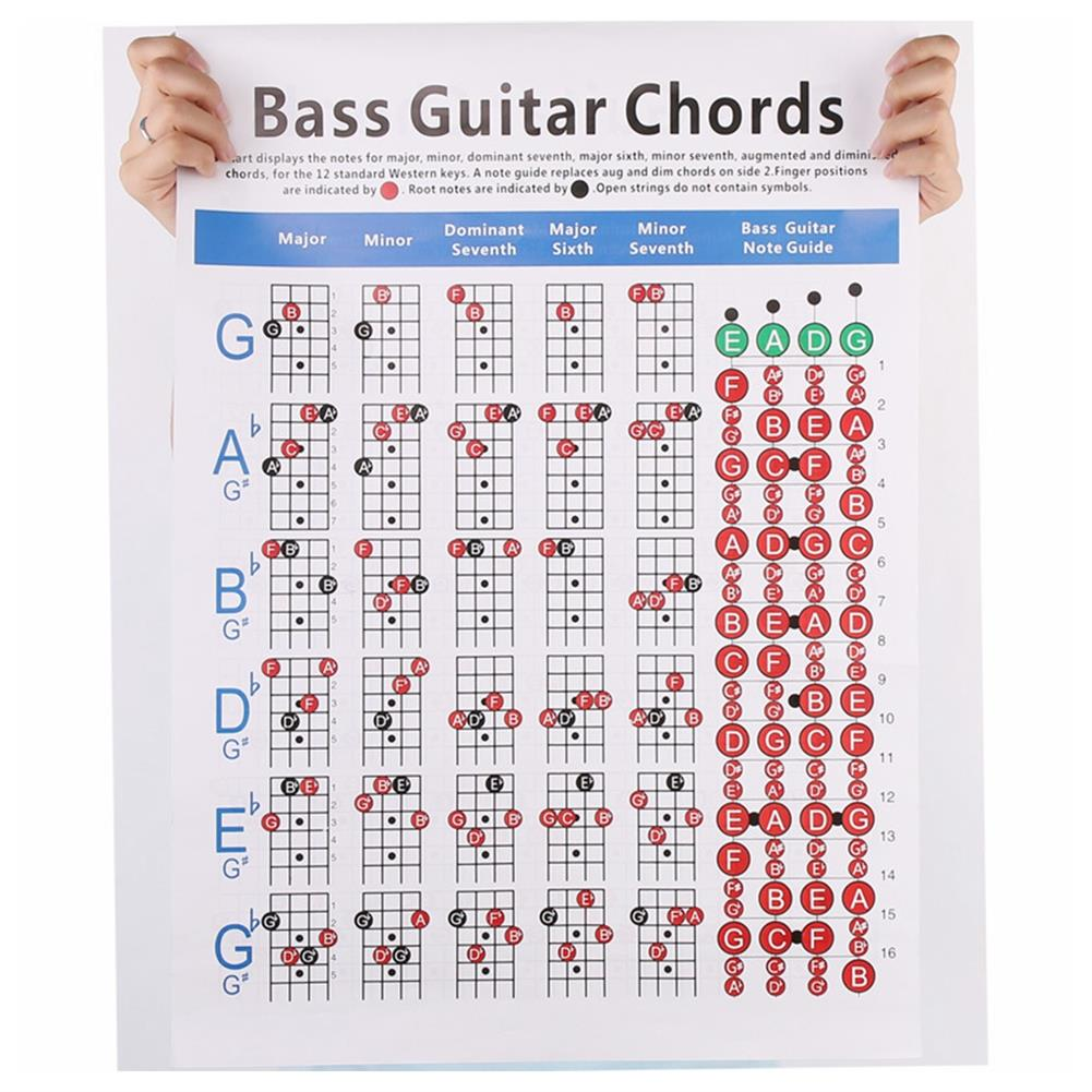guitar-accessories DEBBIE Hord-1.2 4-String Electric Bass String Spectrum Guitar Chord Chart for Fingering Practice HOB1598981 3