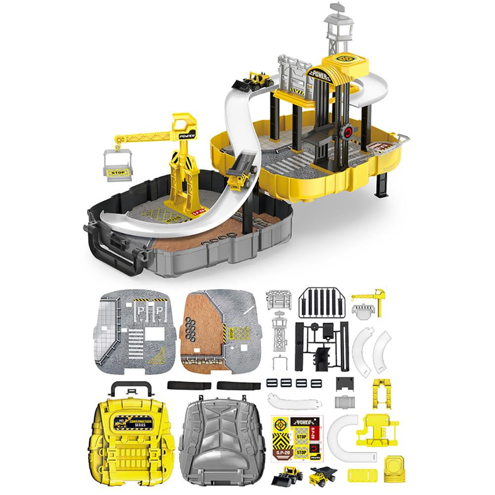 puzzle-game-toys Construction Toys Sets Children's Construction Engineering Set Collection Model Vehicles Metal Tractor Toys including Tire Shape Track Station Boy Toy Gift HOB1599958