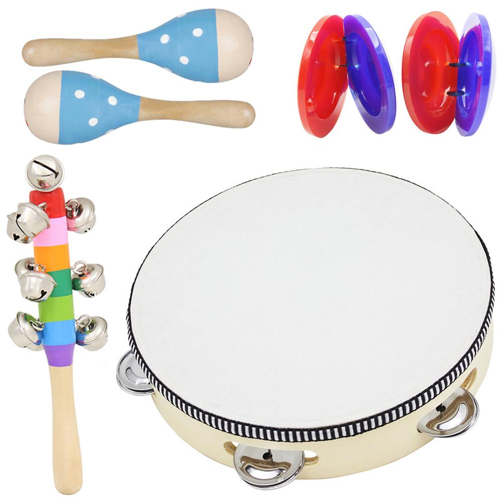 orff-instruments 6 Piece Set Orff Musical instruments Hand Shake Rattle Castanets Sand Hammer Vertical Bell Educational Tools Rhythm Kit for Kids Toddlers HOB1601436 1