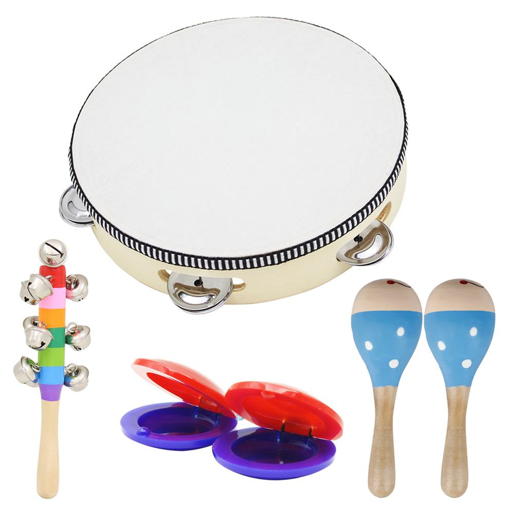 orff-instruments 6 Piece Set Orff Musical instruments Hand Shake Rattle Castanets Sand Hammer Vertical Bell Educational Tools Rhythm Kit for Kids Toddlers HOB1601436 2