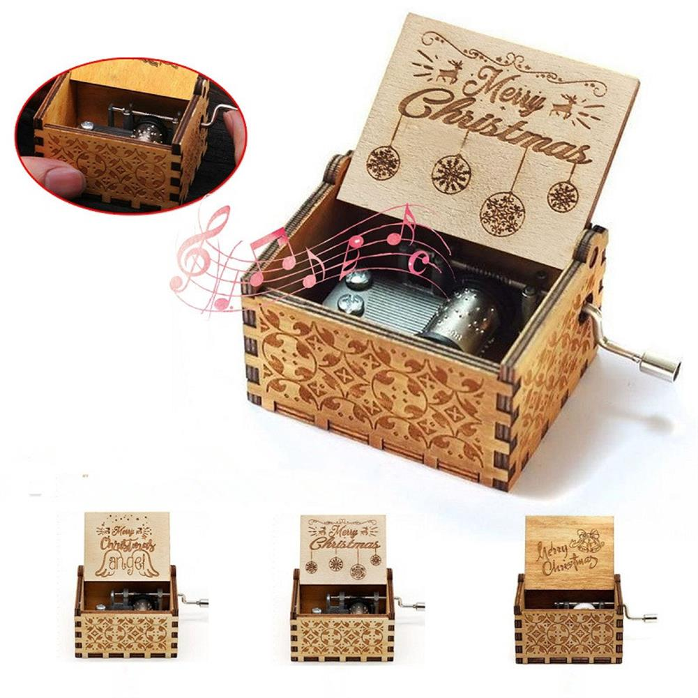 music-box Antique Carved Wooden Hand Cranked Music Box Christmas Birthday Gift Home Decorations Crafts HOB1601496