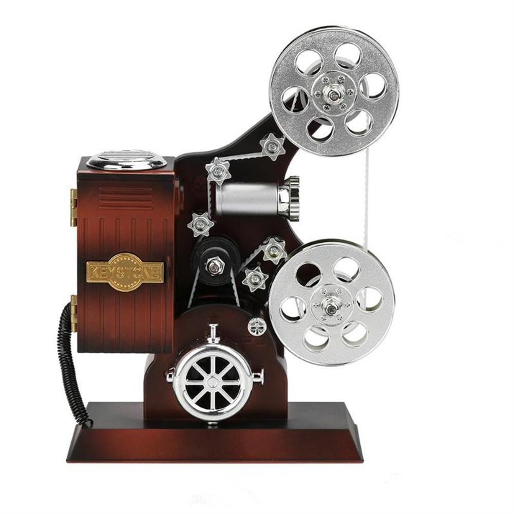 music-box Retro Movie Film Projector Music Box Wood Metal Antique Musical Box Christmas Gift for Kids HOB1601501 1