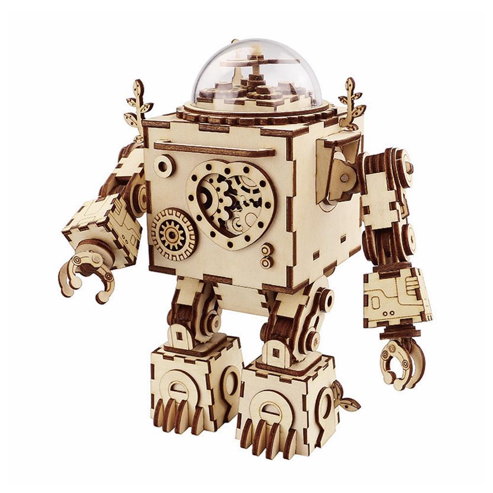 music-box DIY Music Box Set Music Clockwork Wooden Robot Puzzle Assembly Music Box Christmas Gift for Kids HOB1601502