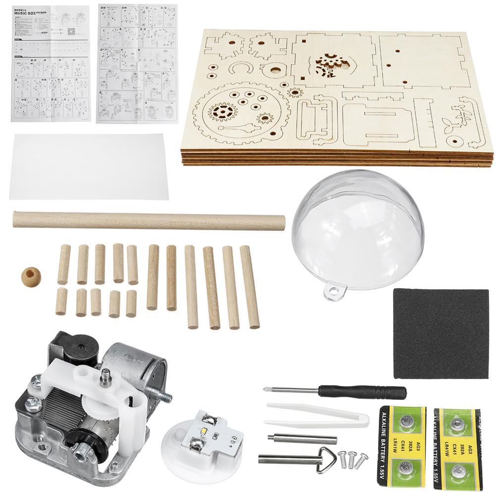 music-box DIY Music Box Set Music Clockwork Wooden Robot Puzzle Assembly Music Box Christmas Gift for Kids HOB1601502 1