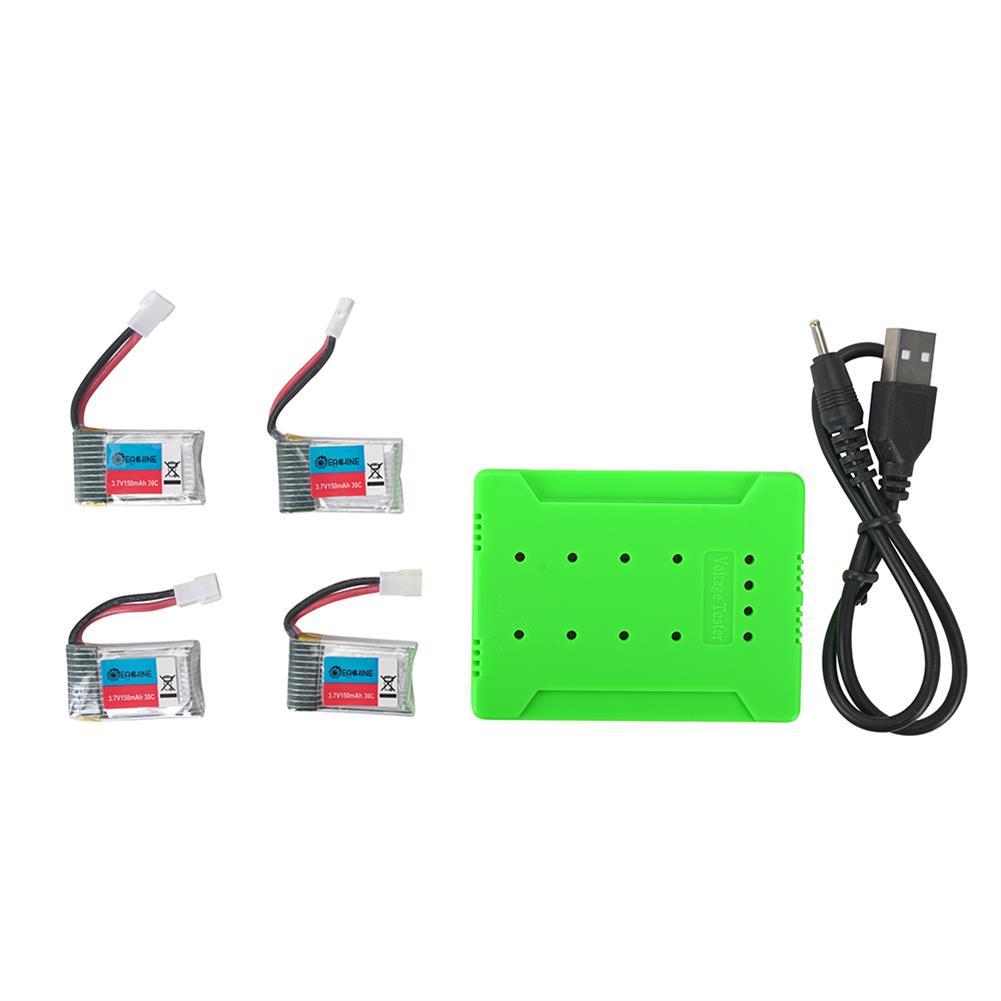 battery-charger 4Pcs 3.7V 150mAh 30C 1S Lipo Battery White Plug with JJRC X8 Charger HOB1602941