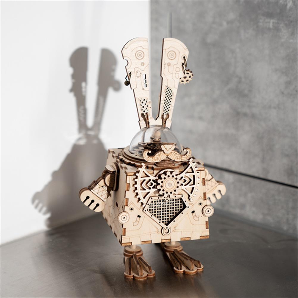 robot-toys DIY Music Box Retro Wooden Music Box Hand Cranked Musical Box Kids Toys Gift HOB1604395 1