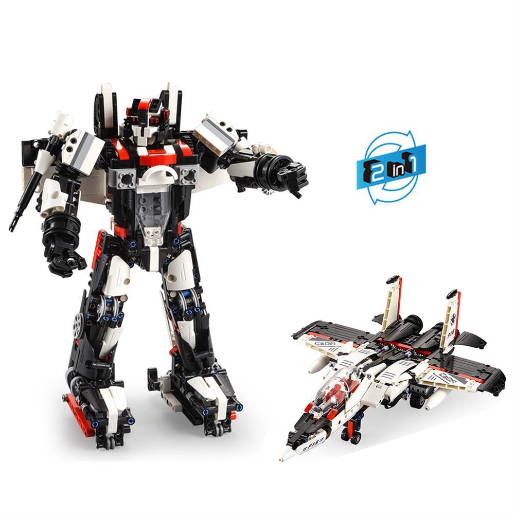 robot-toys CaDA F15-EAGLEBOT DIY 2 in 1 2.4G Smart RC Robot Warcraft Block Building Assembled Robot Toy HOB1604399