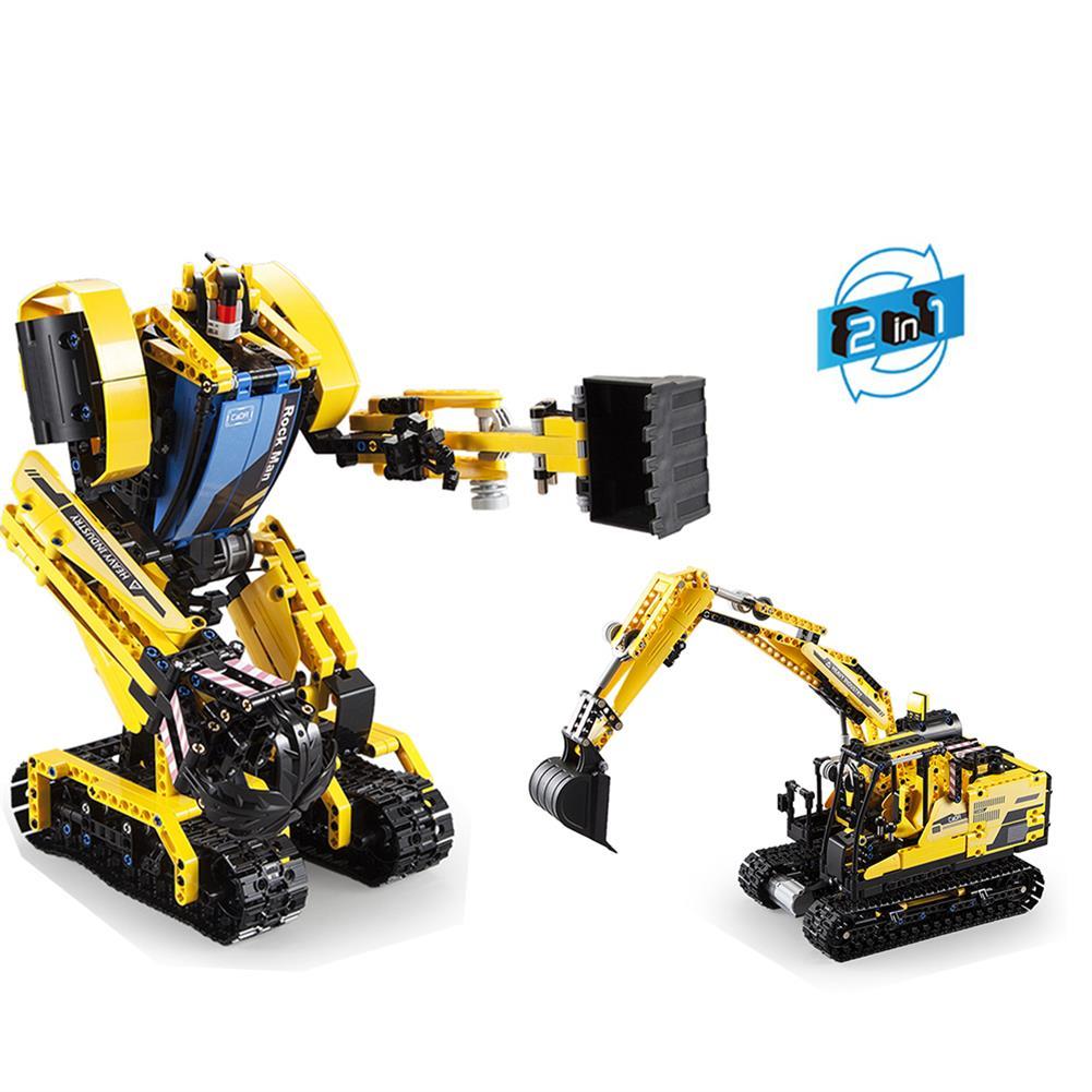 robot-toys CaDA Rock Man DIY 2 in 1 2.4G Smart RC Robot Block Building Excavator Digger Assembled Robot Toy HOB1604401