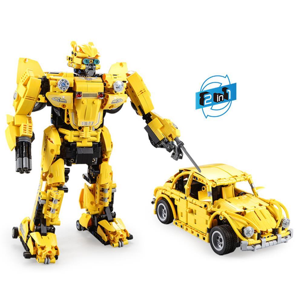 robot-toys CaDA B127-BEEBOT 2 in 1 DIY 2.4G Smart RC Robot Block Building Shooting Assembled Robot Car Toy HOB1604402