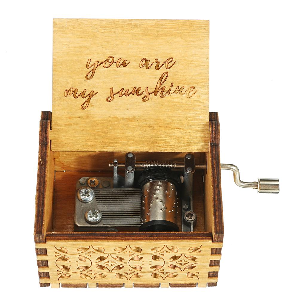 music-box Hand Crank Wooden Engraved theme Music Box Musical Accessories for Music Enthusiast HOB1608301
