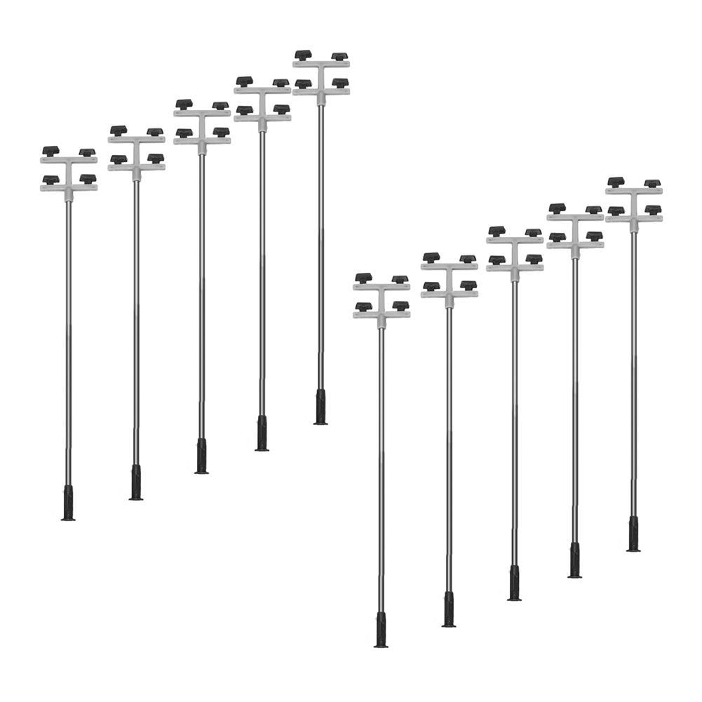 model-building 10Pcs/Set 1: 100 Model Railroad Train LED Street Light HO Scale Lamps Post 3 Heads Street Light HOB1616490 1
