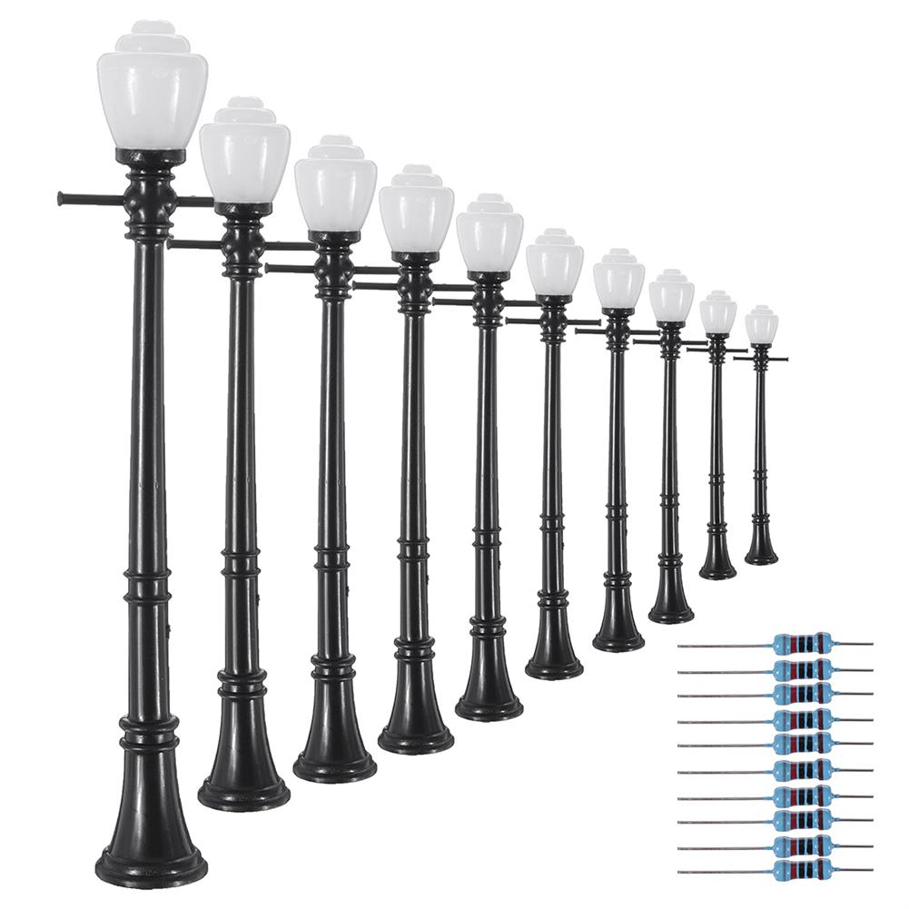 model-building 10Pcs/Set Railway Lamppost Lamps Street Light HO Scale LED Light HOB1616533