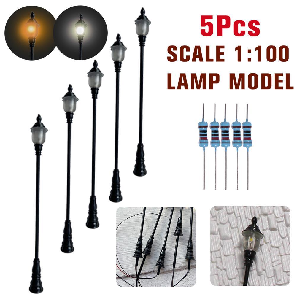 model-building 5Pcs/Set 1:100 HO Scale LED Model Post Street Garden Light Railway Train Lamps HOB1617258