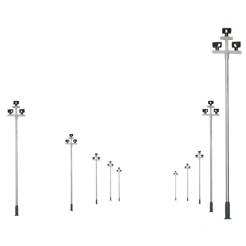 model-building 10Pcs Model Railroad Train LED Street Light HO Scale 1:100 Lamps Post 3 Heads HOB1619765 1