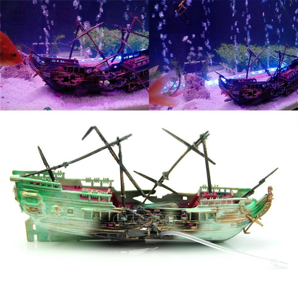 puzzle-game-toys 24cm Broken Resin Wreck Sailing Boat Sunk Ship Air Split Fish Tank Cave Decorations HOB1622706