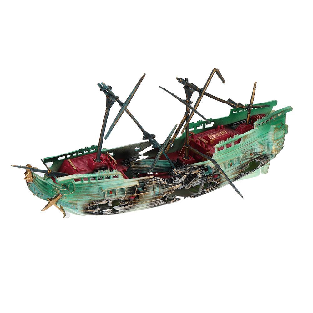 puzzle-game-toys 24cm Broken Resin Wreck Sailing Boat Sunk Ship Air Split Fish Tank Cave Decorations HOB1622706 1