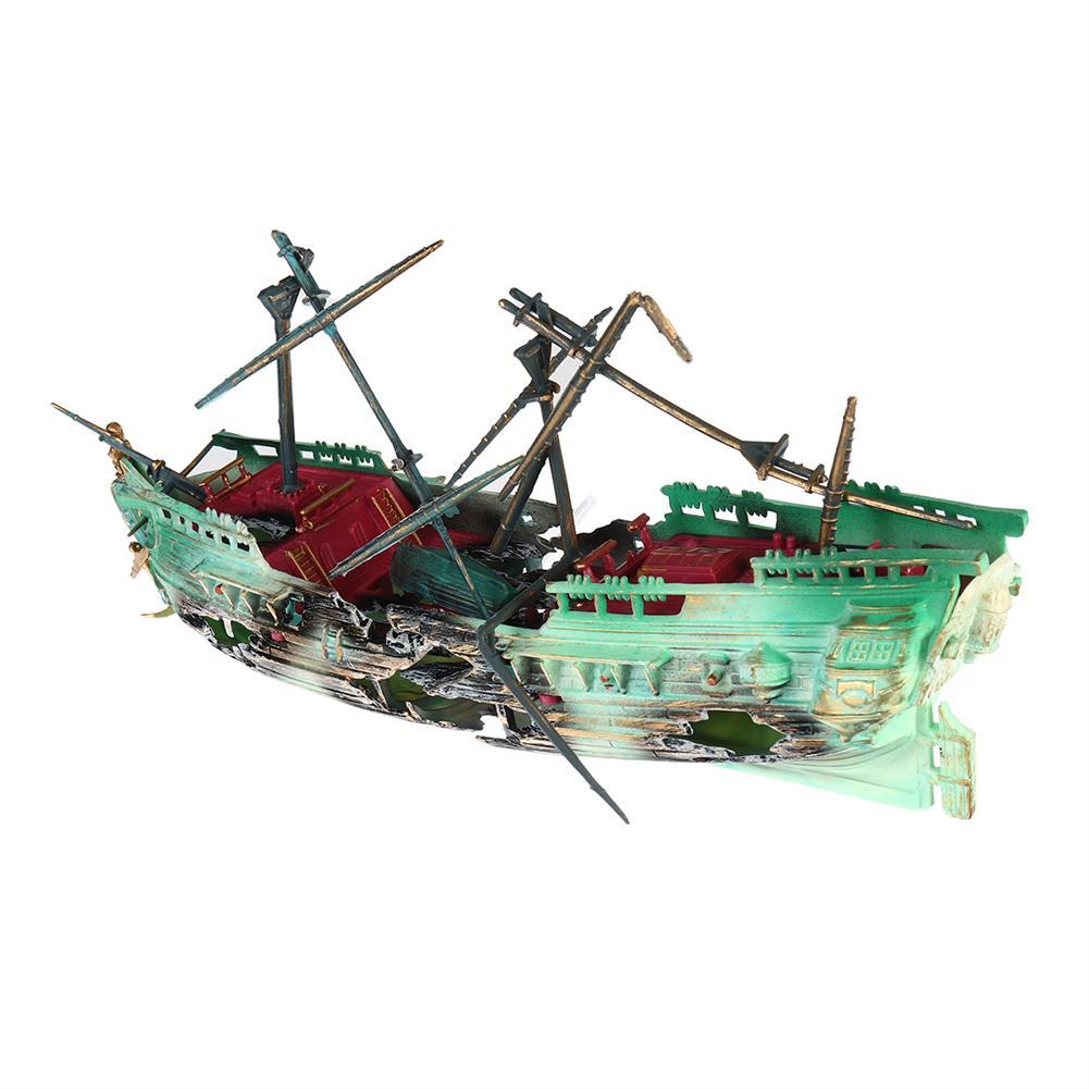puzzle-game-toys 24cm Broken Resin Wreck Sailing Boat Sunk Ship Air Split Fish Tank Cave Decorations HOB1622706 2