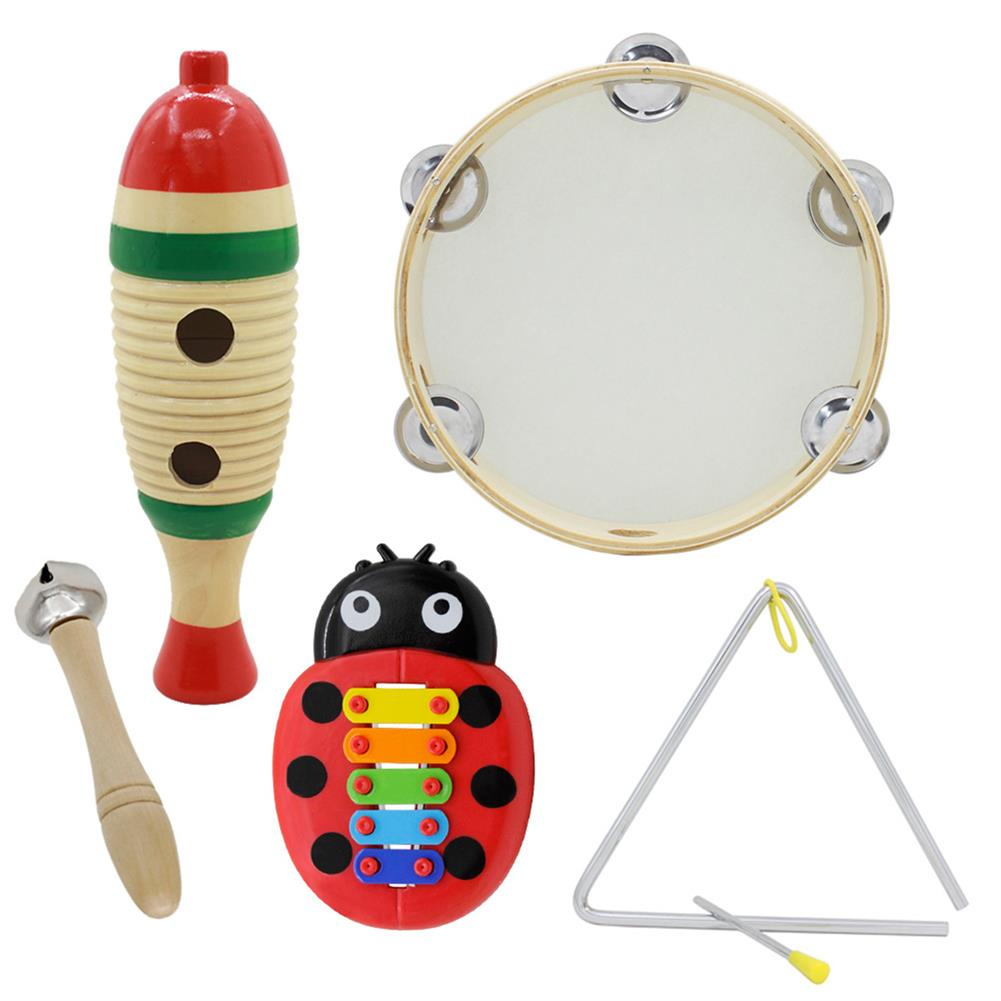 orff-instruments 5-Piece Set Orff Musical instruments Fish Frog/Hand Tambourine/Single Bar Bell/Music Triangle Iron/Beetle 5-tone Aluminum Piano HOB1622929