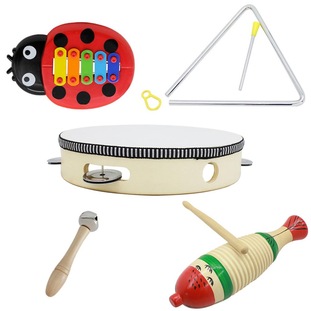 orff-instruments 5-Piece Set Orff Musical instruments Fish Frog/Hand Tambourine/Single Bar Bell/Music Triangle Iron/Beetle 5-tone Aluminum Piano HOB1622929 1