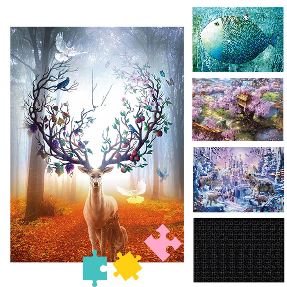 puzzle-game-toys 1000 Pcs Elk Twilight DIY Jigsaw Puzzle Adult Children Educational Toy HOB1624917