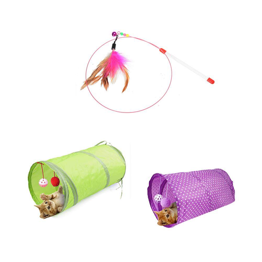 puzzle-game-toys Cat Play Toys Roller Plush Ball Feather Teaser Wand interactive Mouse Tunnel HOB1628991 2