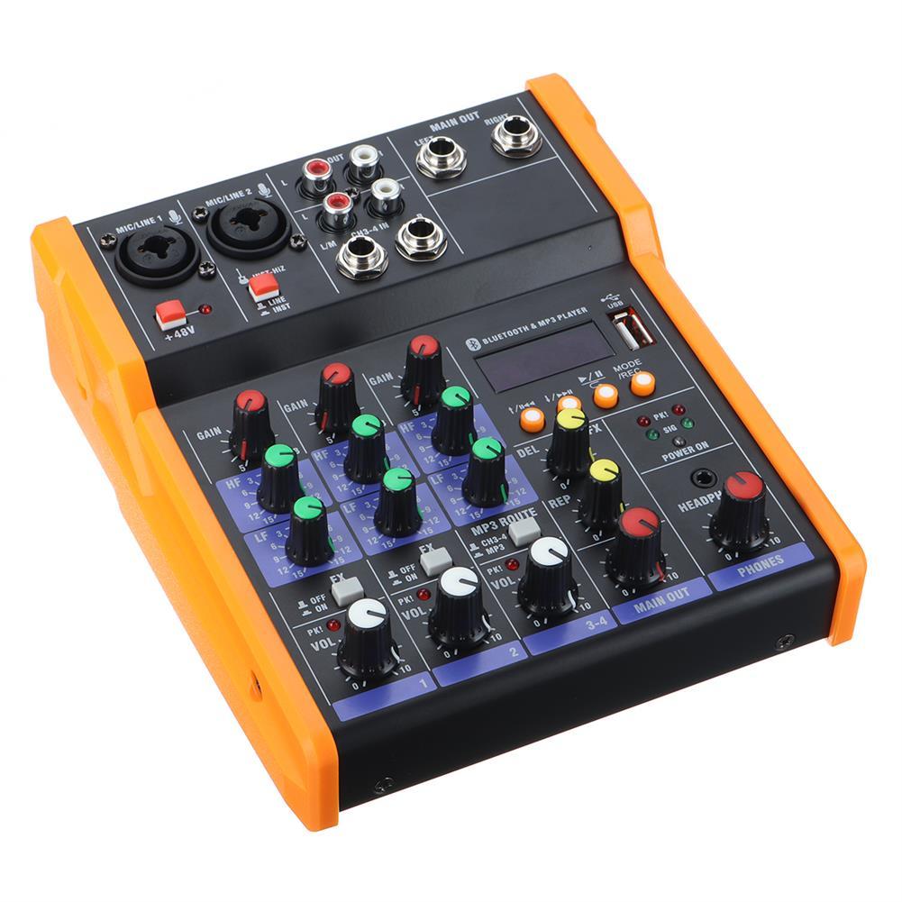 dj-mixers-equipment 4 Channel Bluetooth DJ Mic Audio Mixer Live Studio Audio Mixing Console HOB1629296