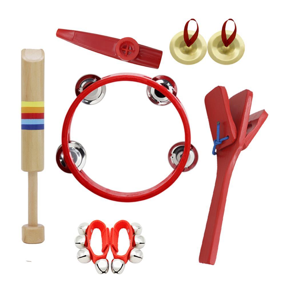 orff-instruments 6 Piece Set Orff Musical instruments Tambourine/Wooden Flute/Finger Cymbal/Wrist Bell/kazoo/Castanet HOB1629297