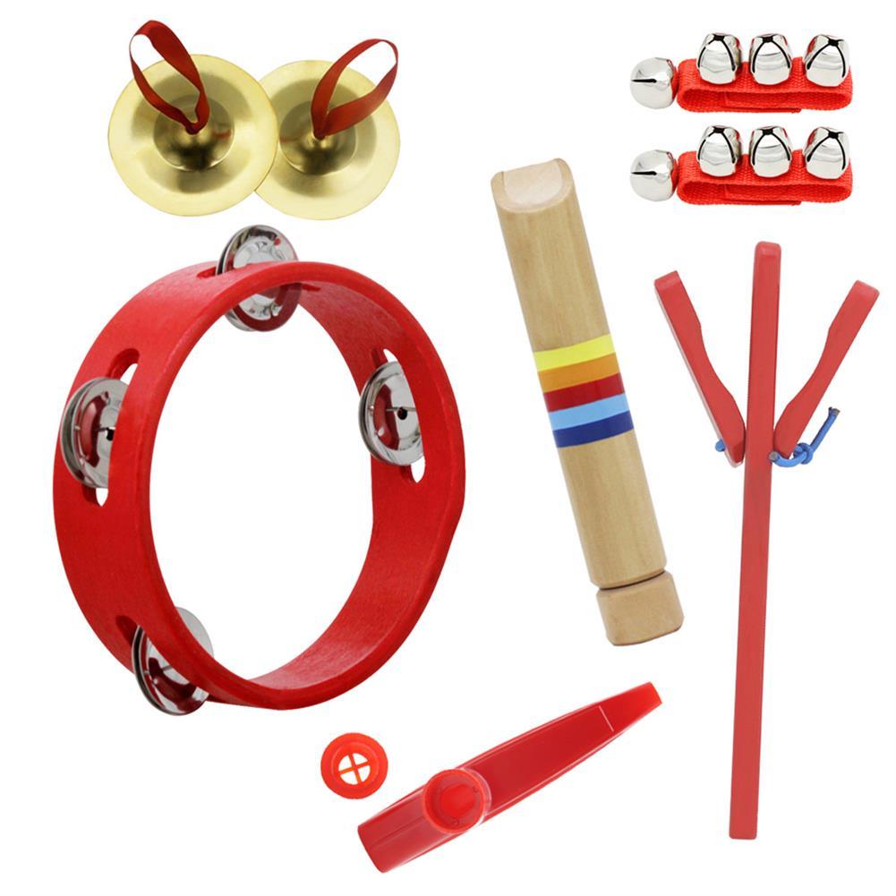 orff-instruments 6 Piece Set Orff Musical instruments Tambourine/Wooden Flute/Finger Cymbal/Wrist Bell/kazoo/Castanet HOB1629297 1