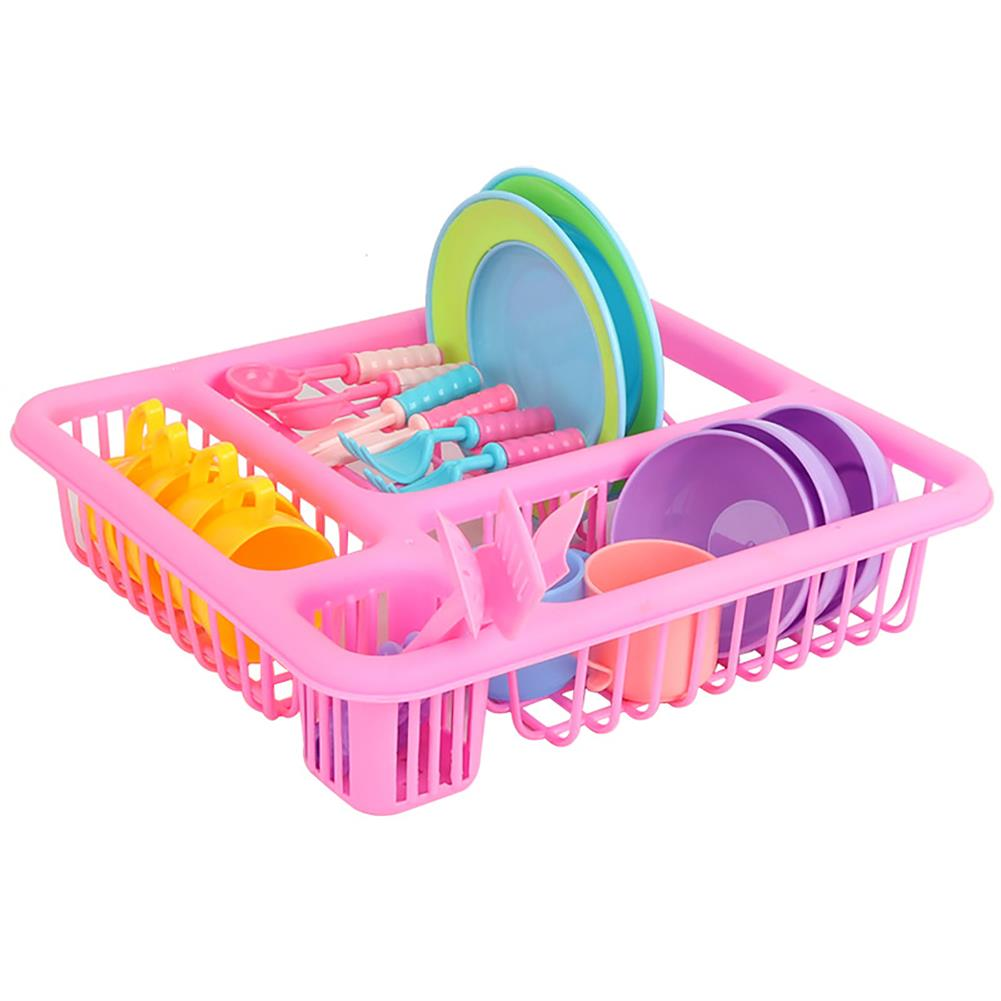 puzzle-game-toys 21PCS Kids Pretend Play Dishes Kitchen Playset Wash & Dry Tableware Rack Toys HOB1629829