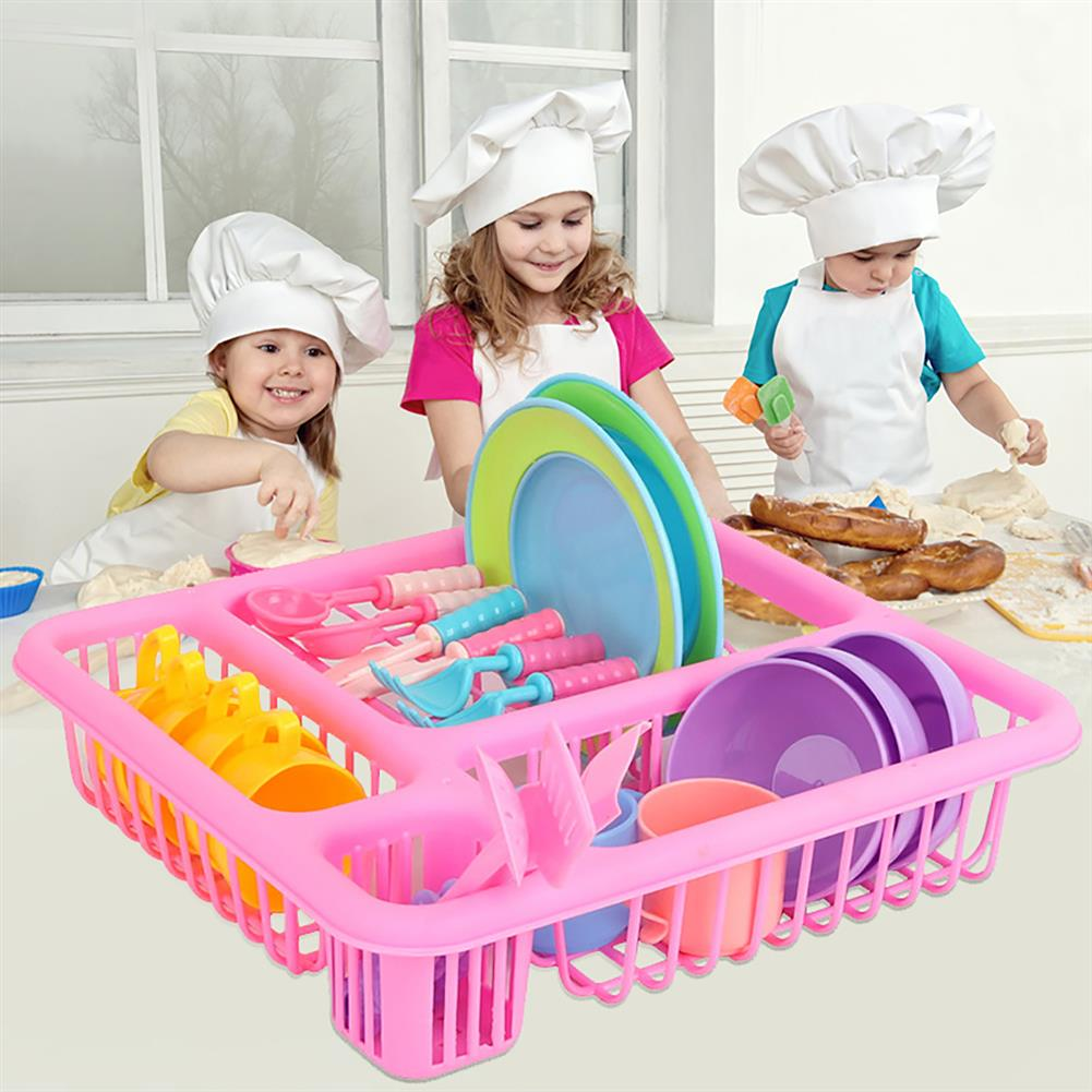 puzzle-game-toys 21PCS Kids Pretend Play Dishes Kitchen Playset Wash & Dry Tableware Rack Toys HOB1629829 1