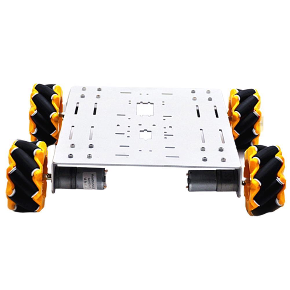 smart-robot-car D-36 DIY 4WD Smart Metal RC Robot Car Chassis Base with Omni Wheels 1:46 Motor HOB1631264 1