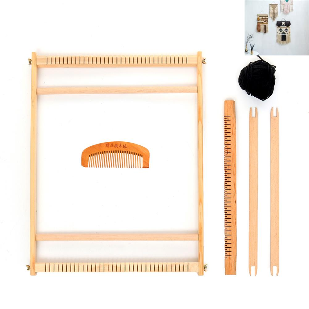 puzzle-game-toys Wooden Weaving Loom Tapestry Knitting Machine Play Toys Kid DIY Craft Kit Gift HOB1632626