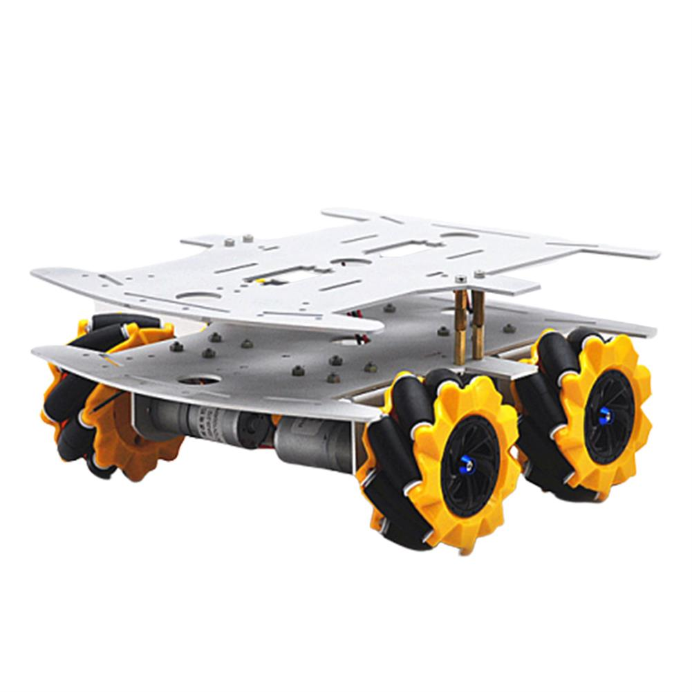 smart-robot-car D-32 DIY DDouble Decker Smart RC Robot Car Chassis Base with 80MM Omni Wheels DC 12V 1:46 Motor HOB1635789 1