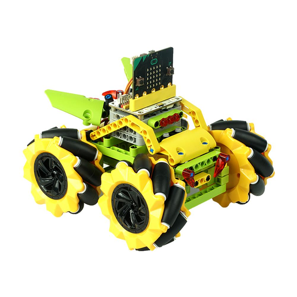 smart-robot-car ELECFREAKS DIY Micro:bit Graphic Program Stick Control Smart RC Robot Car with 80mm Omni Wheels Compatible with LEGO HOB1635791