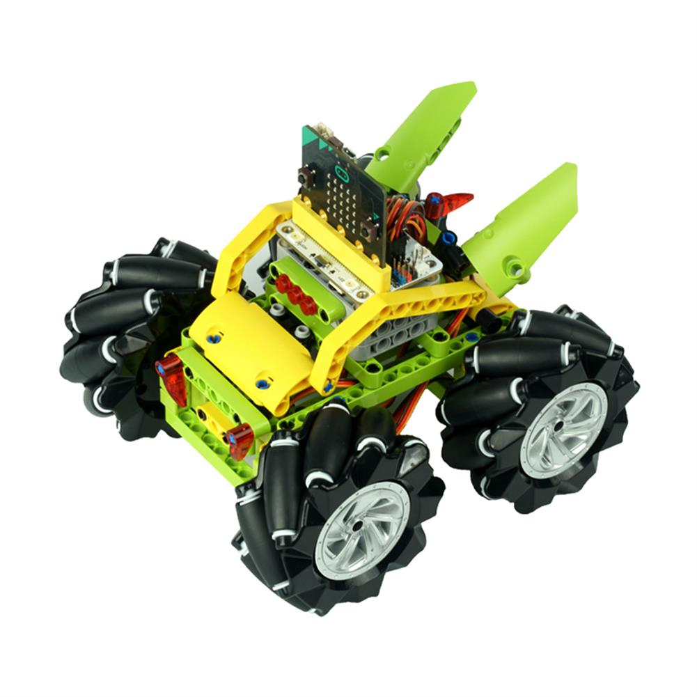 smart-robot-car ELECFREAKS DIY Micro:bit Graphic Program Stick Control Smart RC Robot Car with 80mm Omni Wheels Compatible with LEGO HOB1635791 1