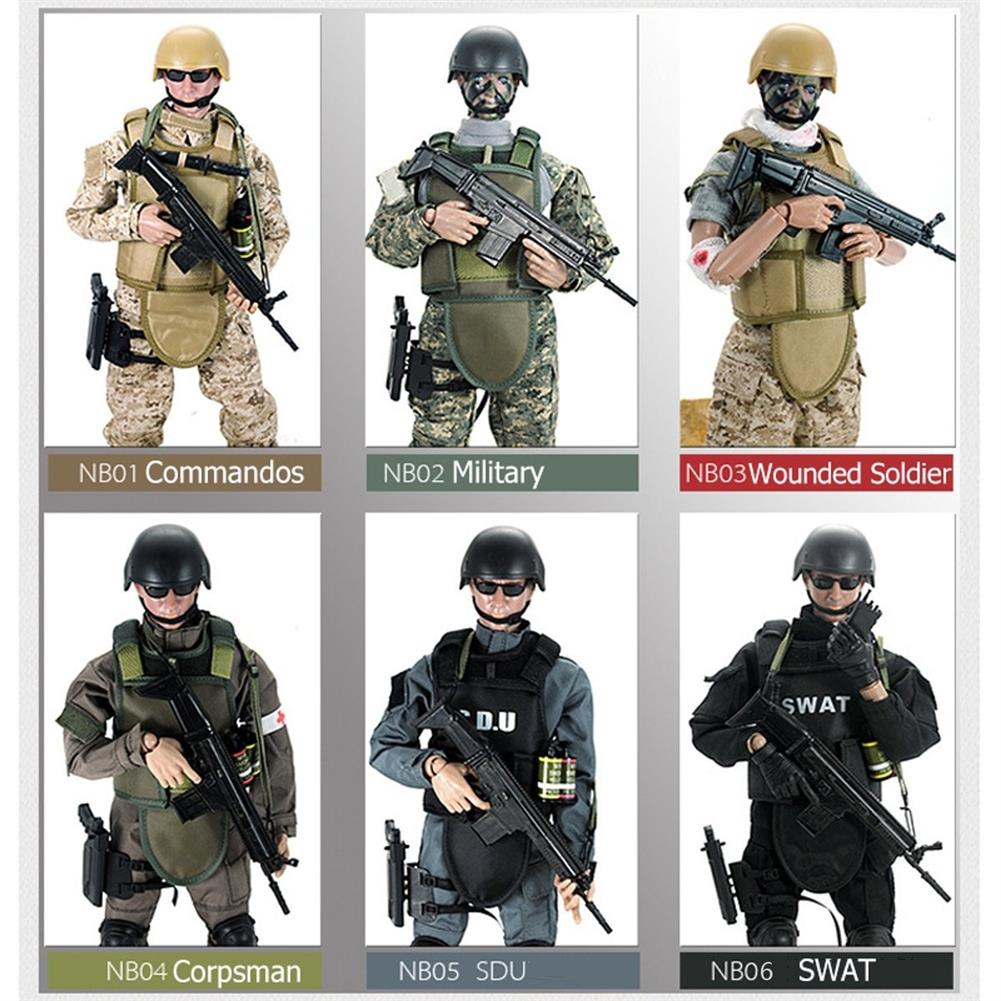 blocks-track-toys 12inch 300mm 1/6 Uniform Military Army Soldier Set Model SWAT SDU Combat Game Action Figure Toys Gift HOB1636189