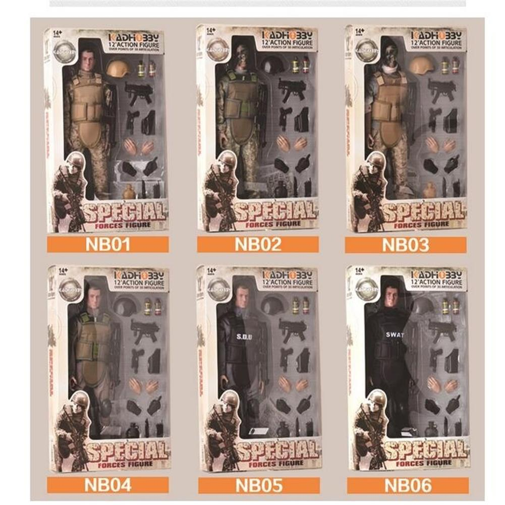 blocks-track-toys 12inch 300mm 1/6 Uniform Military Army Soldier Set Model SWAT SDU Combat Game Action Figure Toys Gift HOB1636189 1