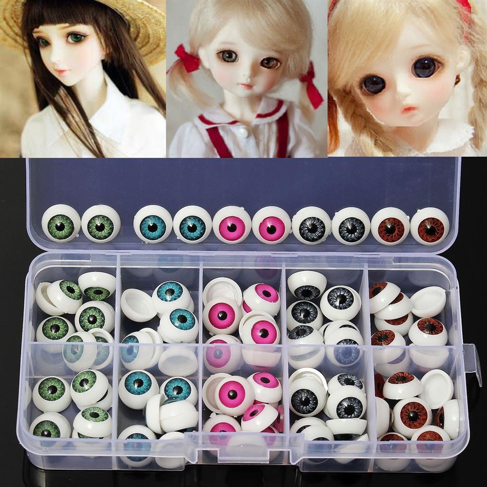 dolls-action-figure 100pcs/box 12mm Doll Eyeballs Half Round Acrylic Eyes for DIY Doll Bear Crafts Toys HOB1636598