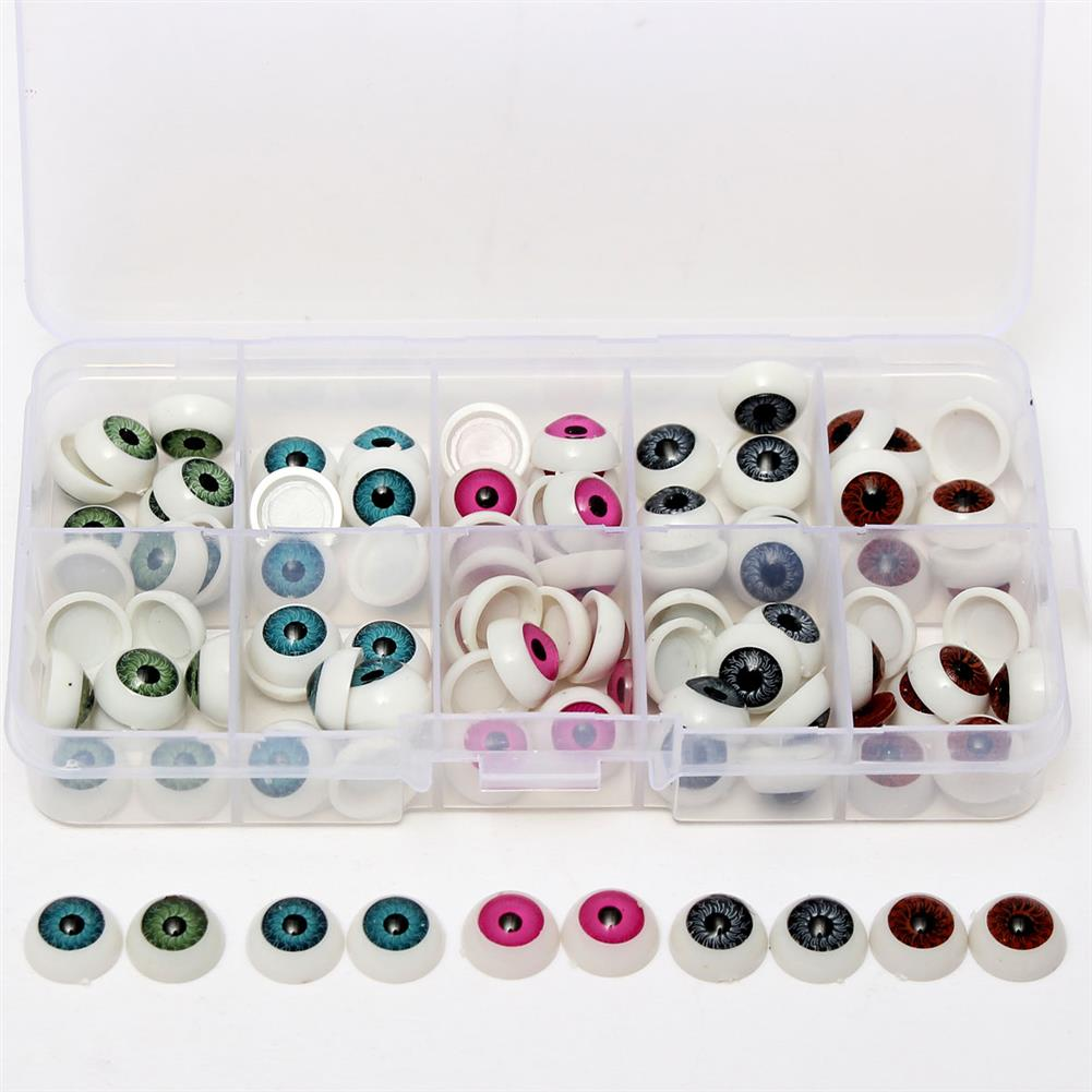 dolls-action-figure 100pcs/box 12mm Doll Eyeballs Half Round Acrylic Eyes for DIY Doll Bear Crafts Toys HOB1636598 1