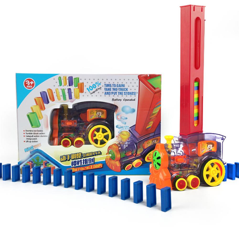 blocks-track-toys Electric Domino Train Kit Motorized Train Model with Light and Sound 80Pcs Colorful Domino Stacking Model Building Blocks Set for Children HOB1639610