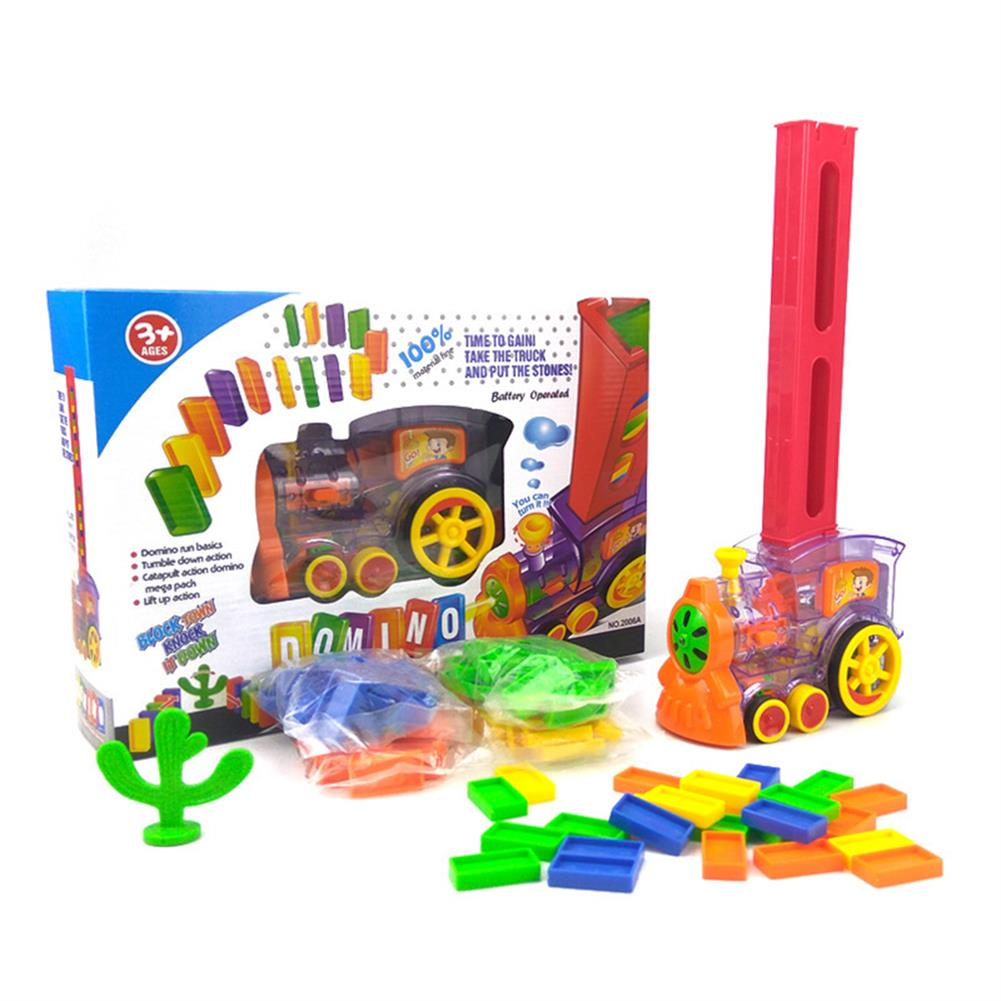 blocks-track-toys Electric Domino Train Kit Motorized Train Model with Light and Sound 80Pcs Colorful Domino Stacking Model Building Blocks Set for Children HOB1639610 1