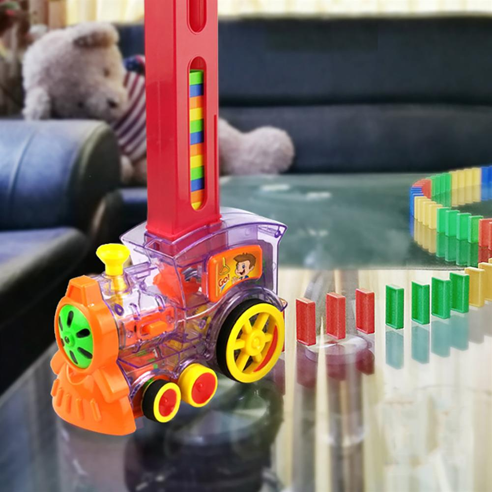 blocks-track-toys Electric Domino Train Kit Motorized Train Model with Light and Sound 80Pcs Colorful Domino Stacking Model Building Blocks Set for Children HOB1639610 2